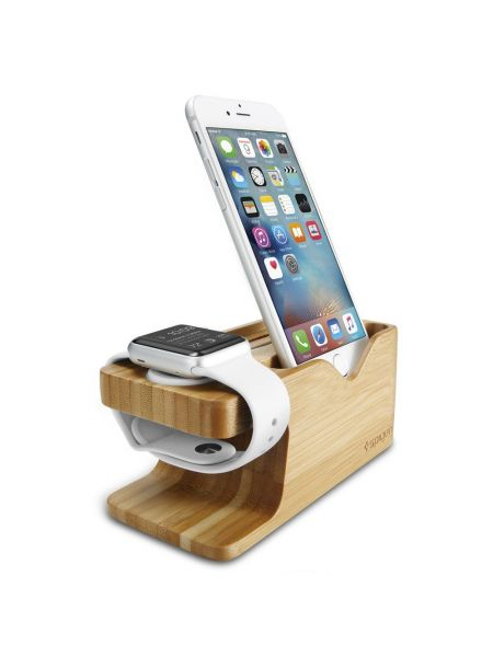 Apple Watch+iPhone Stand S370 Bamboo Wood