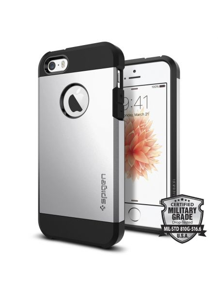 Чехол Spigen Tough Armor для iPhone SE/5S/5, Satin Silver