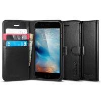 Книжка-чехол Spigen Wallet S для iPhone 6S/6, Black Leather