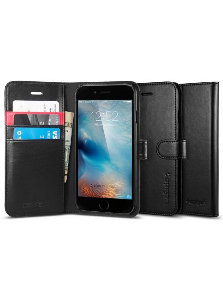 Книжка-чехол Spigen Wallet S для iPhone 6S/6, Black Leather