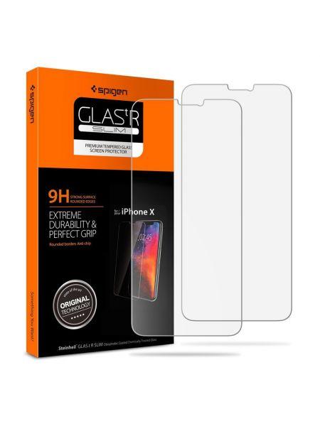 Защитное стекло Spigen для iPhone X/XS Slim HD, 2шт.