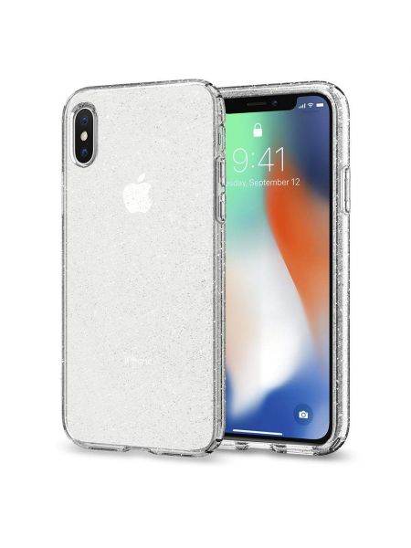 Чехол Spigen для iPhone X/XS Liquid Crystal Glitter, Crystal Quartz