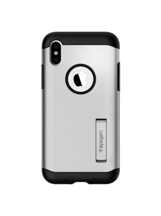Чехол Spigen для iPhone X/XS Slim Armor, Satin Silver