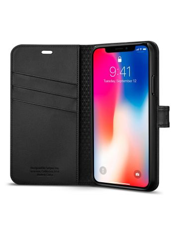 Книжка-Чехол Spigen для iPhone X/XS Wallet S, Black, 057CS22176